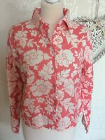 BODEN Pink White Floral Flower Print Shirt Blouse Top Size 14 Long Sleeve Ruffle
