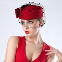 Red Womens Fascinator 100% Wool Veil Bow Pillbox Cocktail Party Race Hat T166