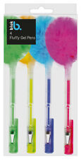 4 X Novelty Fluffy GEL Pens Neon Coloured Ballpoint School Stationery Gifts