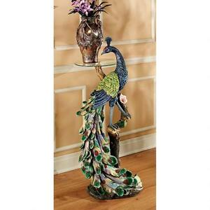KY625 - Peacock's Perch Sculptural Glass-Topped Pedestal Table!