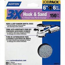 """2 Packs-10pc 6"""" Norton 150 grit 6 Hole Hook Loop Sandpaper Orbital 05322"""