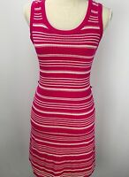 Banana Republic Pink White Striped Knit Dress Casual Sweater Sleeveless Small
