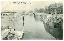 CARTE POSTALE PARIS CRUE DE LA SEINE 28/01/1910 LA SEINE A GRENELLE