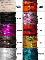 FLAT Metallic Finish Round SEQUINS pre-strung Trim Choose Size, Color & Yardage
