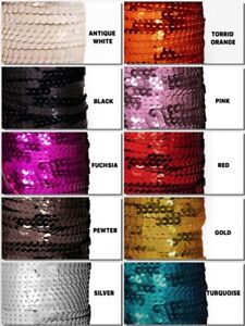 FLAT Metallic Finish Round SEQUINS pre-strung Trim Choose Size, Color & Yardage