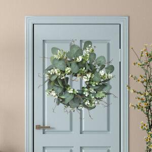 Artificial Eucalyptus Wreath Farmhouse Hanging Wall Front Door Garland Decor