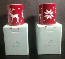 2 Partylite Alpine Chalet Reindeer Votive Holders P9788