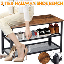 3-Tier Shoe Rack Shoes Bench Storage Organizer with Seat for Entryway Hallway