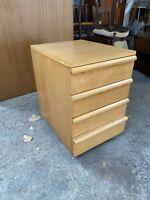 Small Light Wood Effect 4 Drawer Fling Cabinet Under Desk Style on Castors