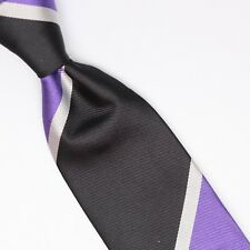 John G Hardy Mens Silk Necktie Large Scale Regimental Stripe Black Purple White