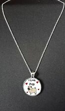 """I Love Pugs Pendant On 18"""" Silver Plated Fine Metal Chain Necklace Gift N813"""