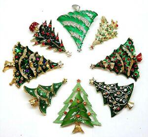 Mostly Vintage Christmas Tree Pin Brooches Green Enamel Rhinestones Lot T11