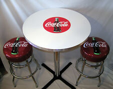 Coca-Cola Pub Table & Bar Stools Coke Bottle Stool