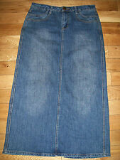 Cato Womens Stretch Denim Long Modest Skirt Back Split Sz 8