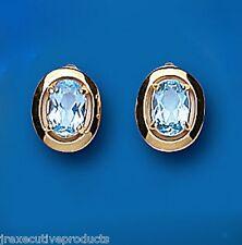 Topazio Blu Borchie Ovale Orecchini Oro Giallo Azzurro