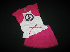 "NEW ""SHINY RAINBOW PEACE"" Skirt Girls Clothes 4 Spring Summer Boutique Kids"