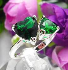 925 Sterling Silver Filled M33s Emerald Green Cocktail Engagement Ring Size 5.75