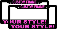 2 CUSTOM PERSONALIZED BLACK TROPICAL PINK LETTERS customized License Plate Frame