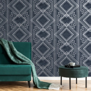 Delano Navy Blue and Silver Art Deco Trellis Wallpaper Distressed Style 75942