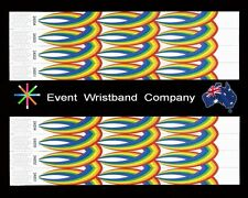 100 x Rainbow Pattern Tyvek, party, security, wristbands