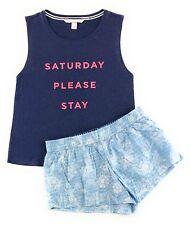 Victoria's Secret Pajamas Set PJs Mayfair Cotton Boxer Shorts Graphic Tank