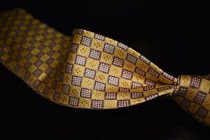 Seigo Katsuragawa Made in Japan Limited Edition AD-106 1/8 Gold Cubes Silk Tie