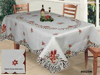 Holiday Christmas Embroidered Poinsettia Bell Tablecloth & Napkins White 6625W