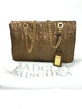 BADGLEY MISCHKA $365 Kelly II Quilted Stitch Leather Chain Strap Purse in Bronze
