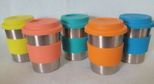 Kids Stainless Steel Cups, Silicone Lids & Sleeves,  5 Pack 8 oz.