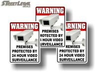 3 Warning 24 Hour Video Surveillance Decal Stickers Security Warning Sign Alert