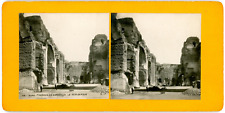 Stereo, Italie, Rome, thermes de Caracalla, le Tepidarium Vintage stereo card -