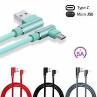 New Braided 90 Degree Right Angle Type C Micro USB Fast Data Sync Charger Cable.