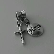 Christian Religious Jesus Cross Hope Dangle Bead Fits European Charm Bracelet
