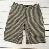Adidas Golf Shorts Mens 30 Brown Plaid Check Performance Stretch Nylon SH127
