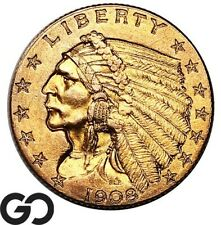 1908 Quarter Eagle, $2.5 Gold Indian, First Year Issue ** Free Shipping!