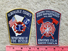 2 Virginia fire department patches > Albemarle & Henry Counties > firefighting