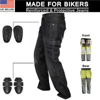Men Motorbike Motorcycle jeans Reinforced Aramid Fabric Protective Armour Pants