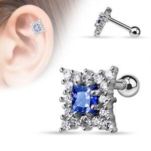 Piercing Cartilage Square Blue Sapphire