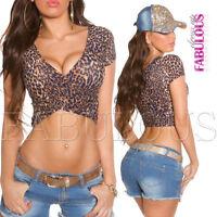 New Women's Leo Print Crop Top Sz 10 6 8 Party Casual Wrap Shirt V- Neck XS S M