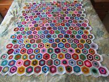 Handmade Crochet Vintage Style Granny Square Hexagon Blanket/ Multi coloured/