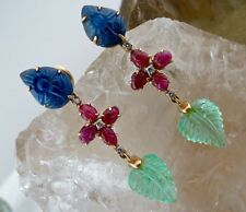 OLD ANTIQUE NATURAL EMERALD RUBY BLUE SAPPHIRE CARVED DIAMOND 18KGOLD EARRING
