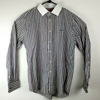 RM Williams Mens Long Sleeve Button Up White Collar Stripe Made In Australia XL