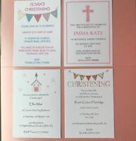10 Personalised Christening Invitations - Girls