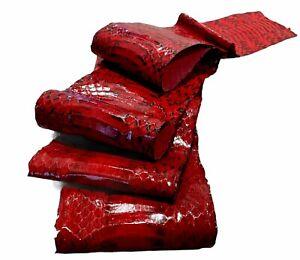 "100% GENUINE WHIP SNAKE SKIN HIDE PELT RED GRADE A  Sz. 49"" x 4"" ARTS & CRAFTS"