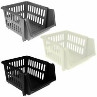 3 Tier Plastic Stacking Basket Set Kitchen Office Storage Rack Stackable Boxes