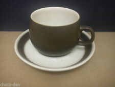 Stoneware Cups & Saucers Mid-Century Modern Pottery