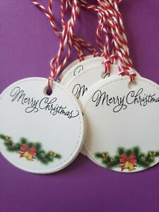 Round Christmas Gift Tags with strings (10) gift tags cardstock
