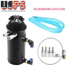 Black Oil Reservoir Catch Can Tank Breather Filter Baffled Aluminum Universal