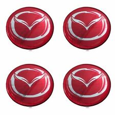 MAZDA 50 mm. Resin RED Color Wheel Center Caps Decal Sticker Logo Emblem 4 Pcs