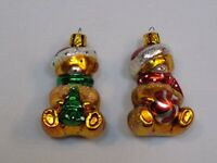 Teddy Bear Blown Glass Christmas Tree Ball Scarf Ornament Set 2 Lot Holiday Gift